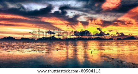 Fantasy sunset over the sea. Palawan. Philippines