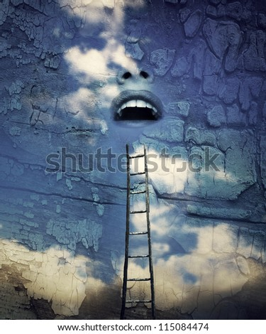 Fantasy surrealistic imagine of a human open mouth in the sky with a wooden ladder above