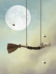 fantasy swing in the sky with feathers and nest