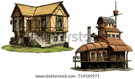 Fantasy tavern buildings 3D illustration