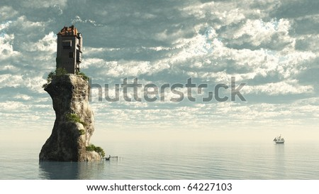 Fantasy tower castle on a rocky sea stack, 3d digitally rendered illustration