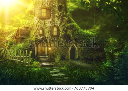 Fantasy tree house in deep forest