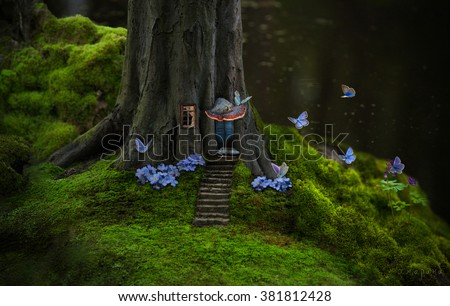 Fantasy tree house of a forest elf. #381812428