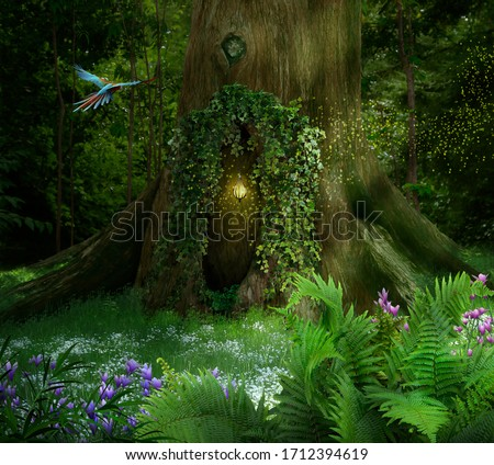 Fantasy tree with hole in the forest and parrot flying. Photo manipulation. 3d rendering.