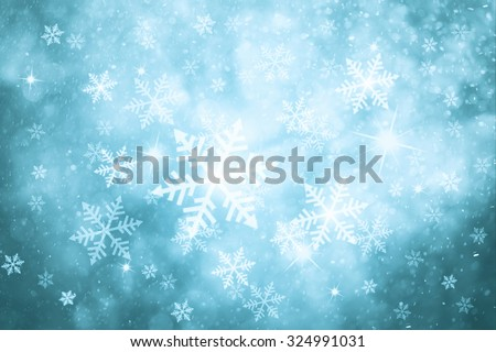 Fantasy turquoise colored abstract snowfall Christmas and New Year illustration background with sparkle. #324991031