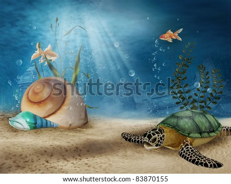 Fantasy underwater scenery with shells, fish, and sea turtle