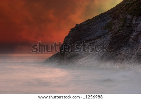 Fantasy volcanic landscape