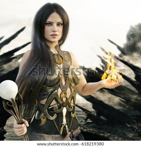 Stock Photo Fantasy wizard female with flames coming from her hands and a mythical skull island in the background. 3d rendering