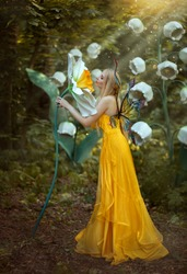 Fantasy woman blonde forest fairy. Fashion model in a long yellow dress with butterfly wings holds in hand and smell large flower narcissus. Scenery white lilies of the valley. Sun rays light magic.