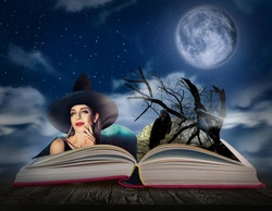 Fantasy world. Open book of fairytales with witch and black crow on pages