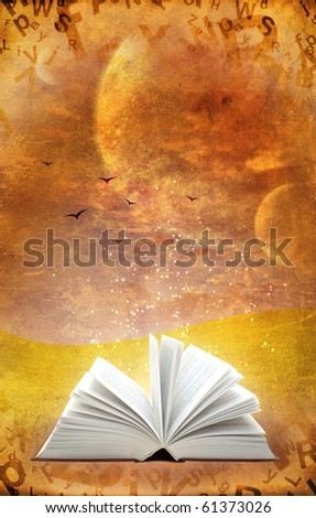 Fantasy world. Vertical grunge background with magic book