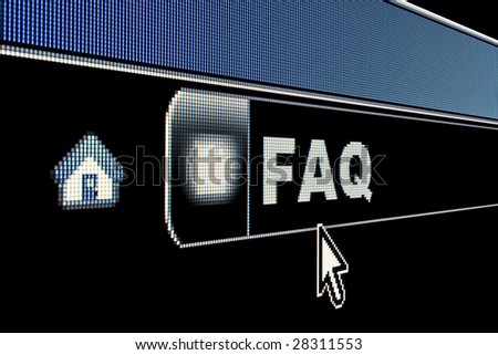 FAQ concept on an internet browser URL address