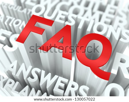FAQ Concept. The Word of Red Color Located over Text of White Color.