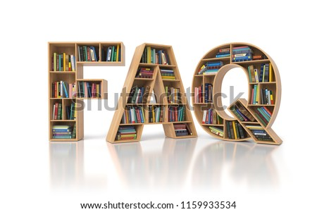 FAQ Frequently asked questions concept. Bookshelf with book in form of letters FAQ isolated on white. 3d illustration Сток-фото ©