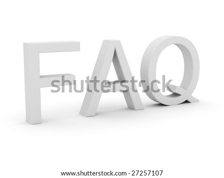 FAQ letter isolated in white background - stock photo