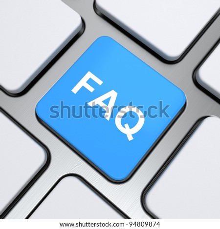 faq text on a button keyboard, 3d render