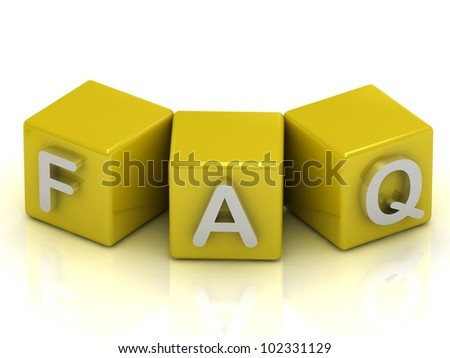 FAQ text on gold cubes on white background