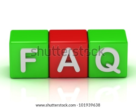 Faq two green and one red cube: 3d render illustration - stock photo