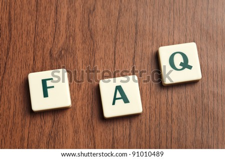 FAQ word made by letter pieces