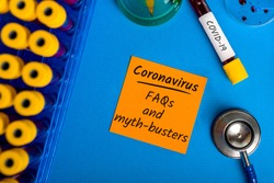 FAQs and myth-busters for Covid-19 - Coronavirus pneumonia. What you need to know. Quarantine and pandemic concept