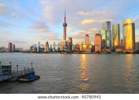 Far East city of Shanghai Lujiazui evening scenery
