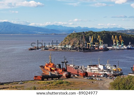Far east, Russia, Avacha bay, the city of Petropavlovsk-Kamchatsky, the old ships