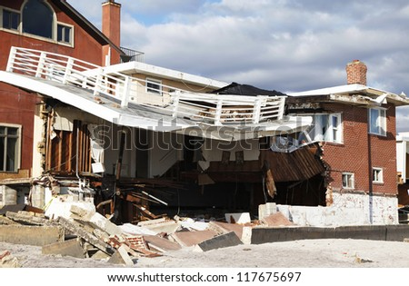 FAR ROCKAWAY, NY - NOVEMBER 4: Destroyed beach house in the aftermath of Hurricane Sandy on November 4, 2012 in Far Rockaway, NY