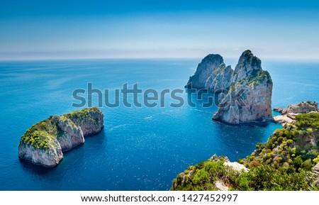 Faraglioni rocks view from hiking pass along  Capri coastline , Italy. #1427452997