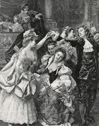 Farandole - the national dance of Marseille. Engraving by Bod from picture by Garrido. Published in magazine