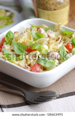 Farfalle pasta with chicken and basil