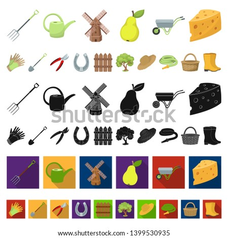 Farm and gardening cartoon icons in set collection for design. Farm and equipment bitmap symbol stock web illustration. #1399530935