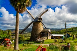 Farm and windmill in Barbados, Caribbean