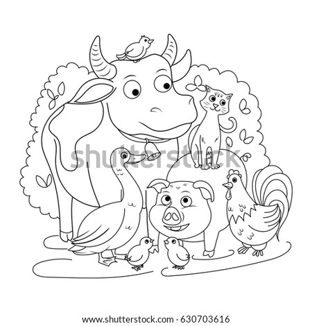 Farm Animals Coloring Book For Children Raster Illustration Ez Canvas