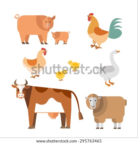 Farm animals in flat style. Can be used for web, games: sprites nd tile sets.