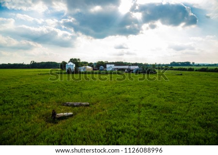 Farm at sunset green field farmhouse farmer plow corn agriculture plow country
