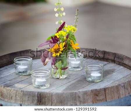 Farm casual arrangement of flowers