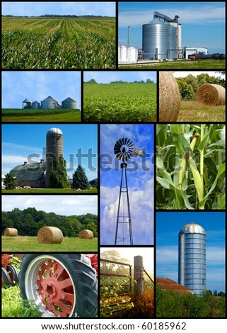 Farm collage of images silo,barn,straw,farm and a tractor