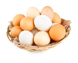 farm eggs in a basket over white