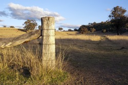 Farm fence at gate opening with paddock behind in rural Australia