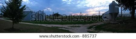 Farm Field Sunset Panorama
