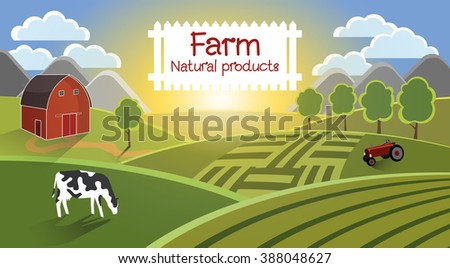 Farm flat landscape. In the foreground the cow is grazed, in the distance a tractor for harvesting, a barn, fields. On a background of the mountain, a cloud and a sunlight. Farm background.