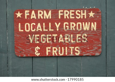 FARM FRESH vegetables and fruits sign at farmers market - stock photo