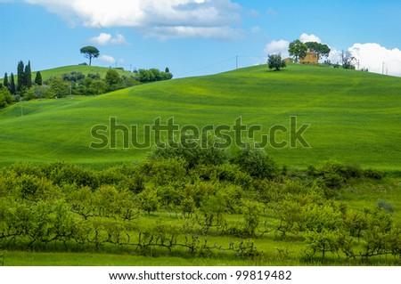 Farm house in the Tuscany region of Italy. - stock photo