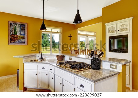 Farm house interior. Luxury kitchen room with white cabinet. Cabinet with granite top, with built-in stove and sink