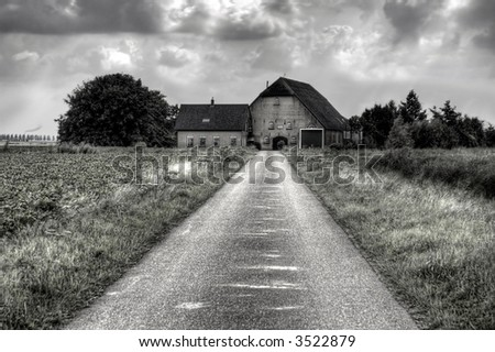 Farm in black-and-white