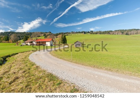 Farm in Southern Germany in autumn with driveway #1259048542