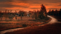 Farm in sunset with dirty road. Oil painting style photo.