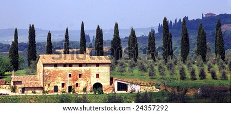 Farm in Tuscany, Italy. Surrounded by cypresses