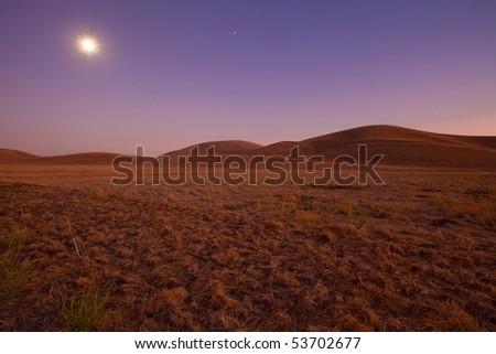 Farm land scene with rolling grassland / pasture hills under a romantic moonlit sky