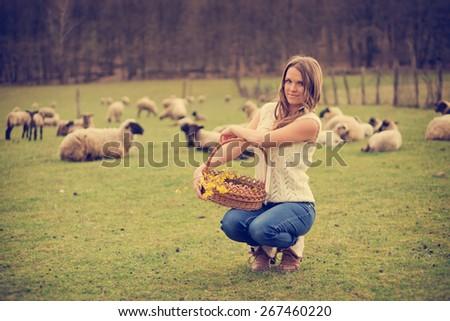 farm life   vintage style photo ...